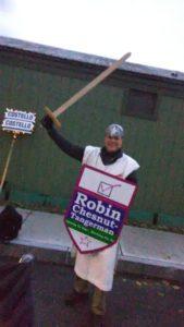 Robin at the parade